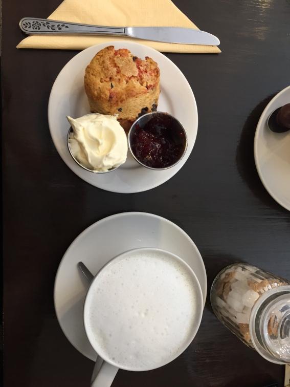 York-cocoa-house-white-hot-chocolate-cherry-cream -scone